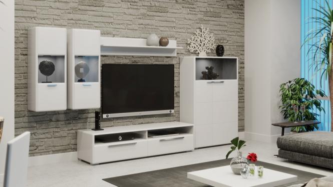 «Наоми» модульная гостиная Белый глянец