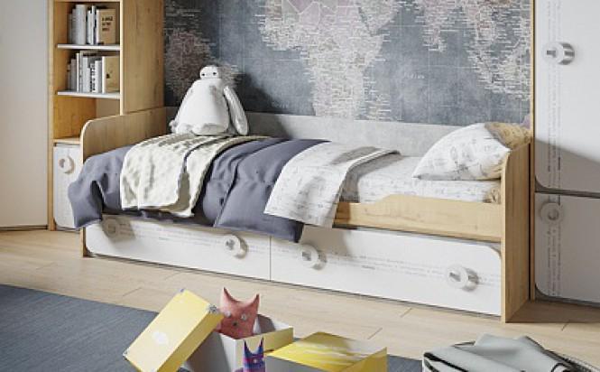 Кровать с 2 ящиками «Мегаполис»